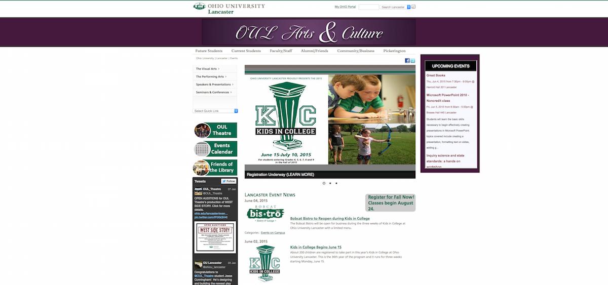 Ohio University Lancaster arts events screenshot