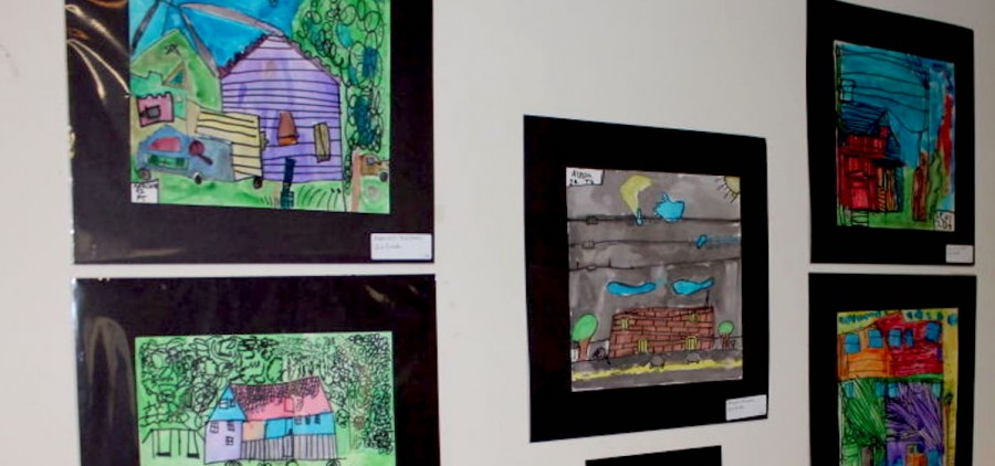 Coolville Elementary second and third students created art work featuring the houses and buildings located in the Village of Coolville. (photo: Sarah Hawley/Athens Messenger)
