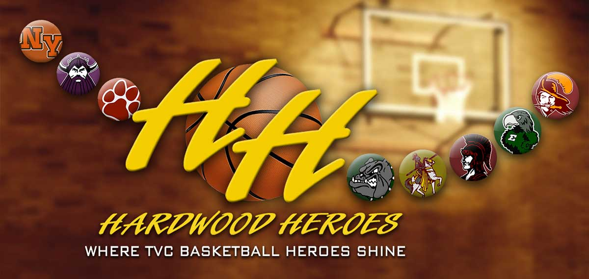 Hardwood Hereos logo surrounded with area high school logos