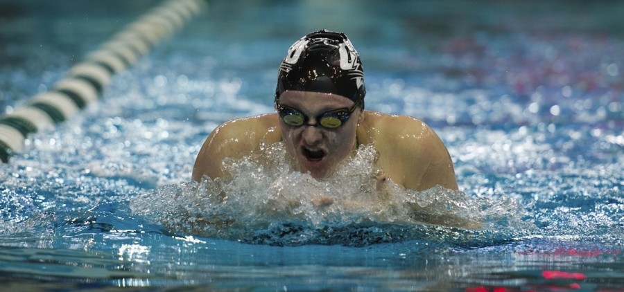 Ohio university swimmer in race with head bobbing out of water
