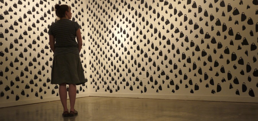 """Melissa Haviland with her piece, """"A Host of Options (Music for Teacups wallpaper)"""""""