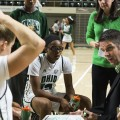 Ohio womens basetball coach Bolden with players