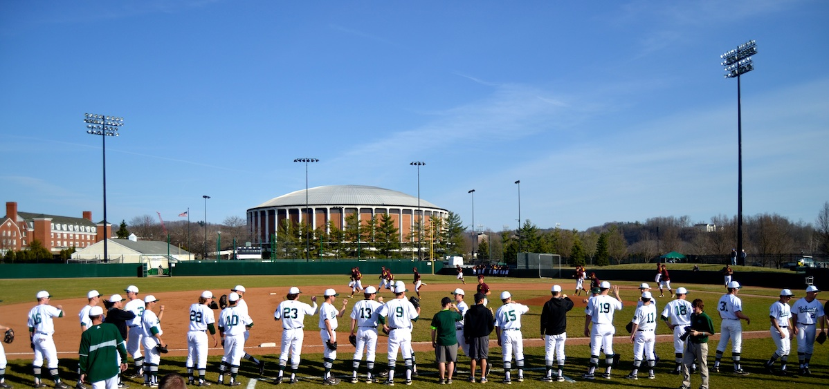 OU baseball home intros, convocation center in background