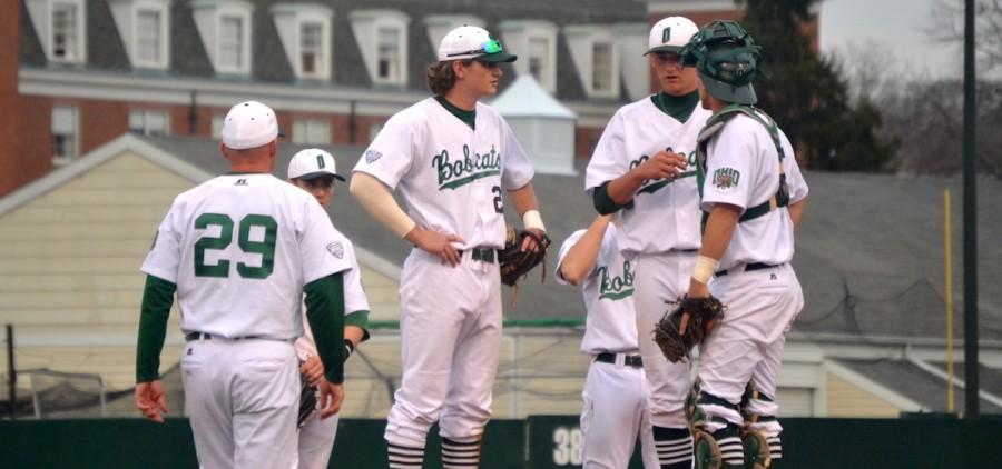 Ohio baseball players meet on the mound