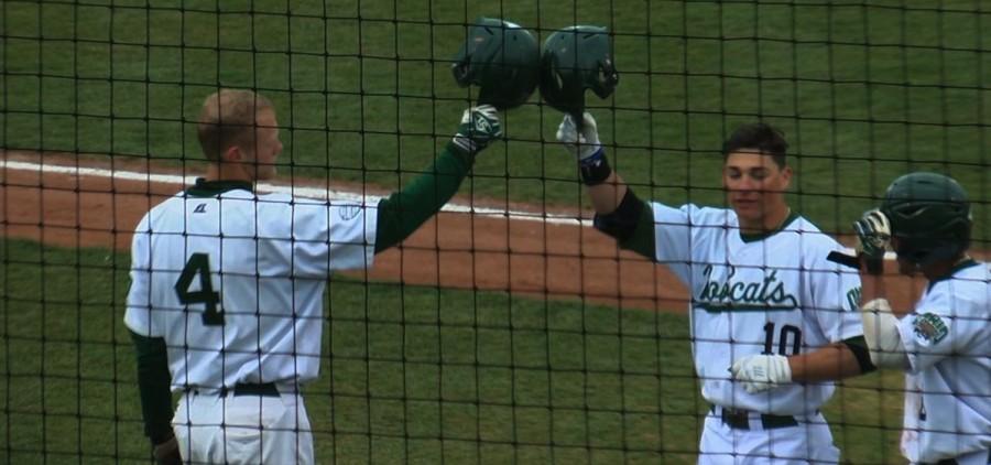 Ohio baseball helmet high five