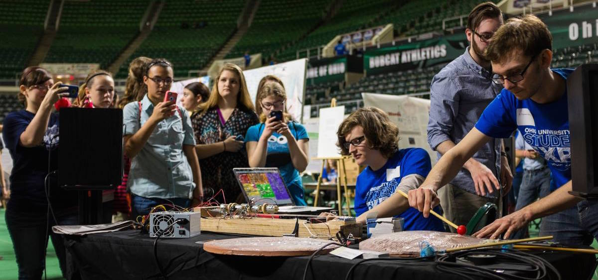 """OU Music majors D. Turner Matthews and Jacob Schlaerth presented """"Creation of Custom Instruments for Music Composition"""" at the 2015 Ohio University Student Expo (photo: Rob Hardin/Ohio University)"""