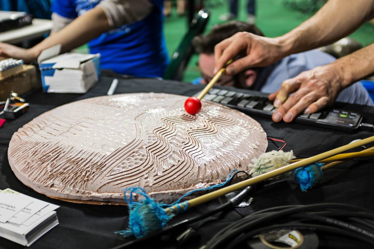 """Schlaerth: """"We are here to create new sounds that no one has ever heard before."""" (Photo: Rob Hardin/Ohio University)"""