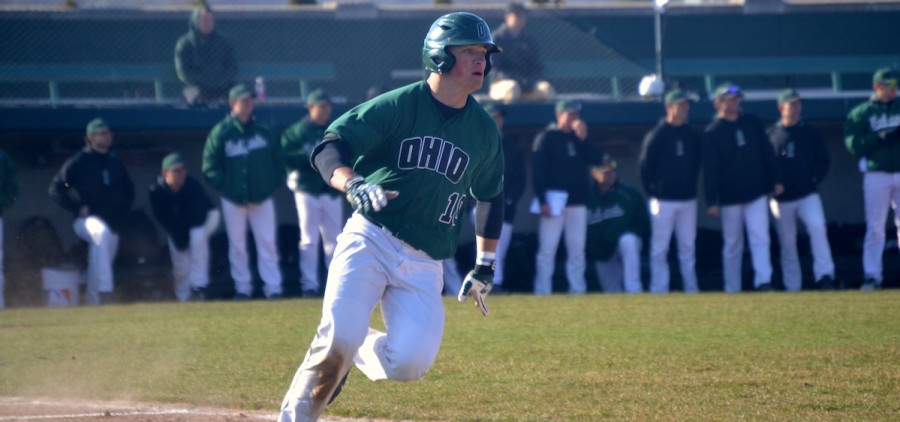 Mitch Longo Ohio baseball headed towards first base