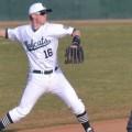 Ohio University baseball shortstop throws to first