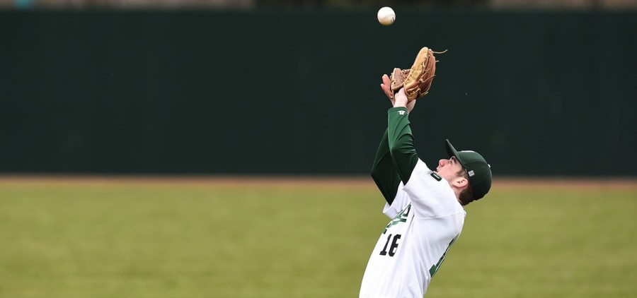 Ohio baseball player catches a pop fly