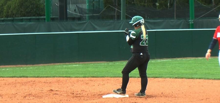 Ohio softball on second base