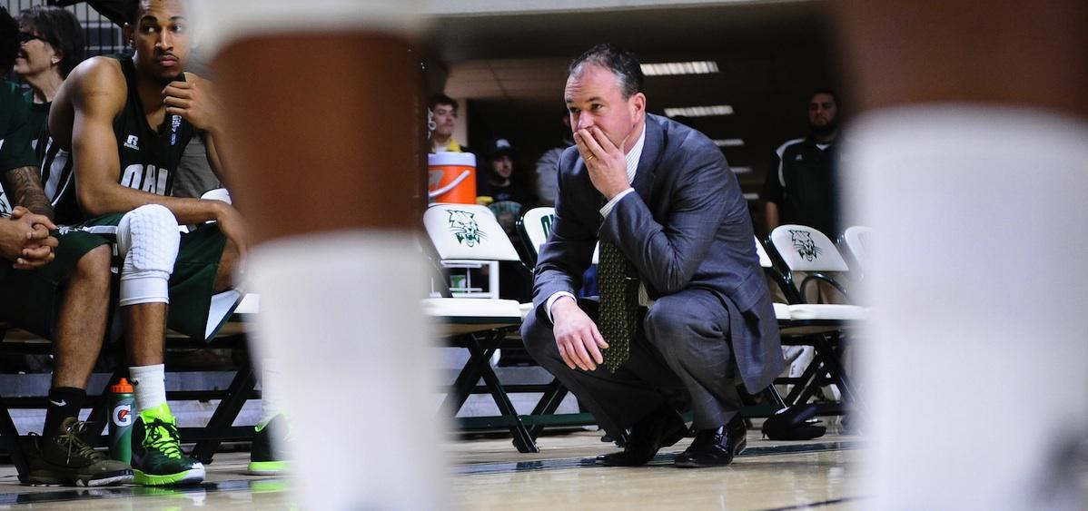 Ohio University men's basketball coach Saul Phillips