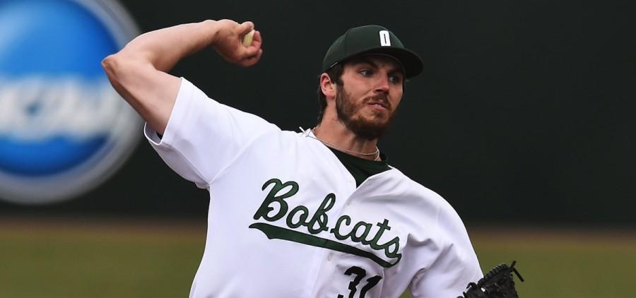 Ohio University Connor Sitz pitching for Ohio baseball