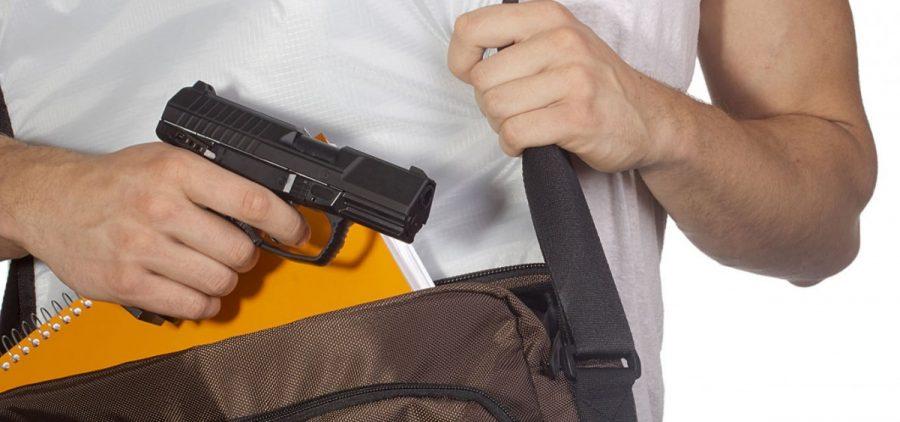 A person pulls a gun out of a bag