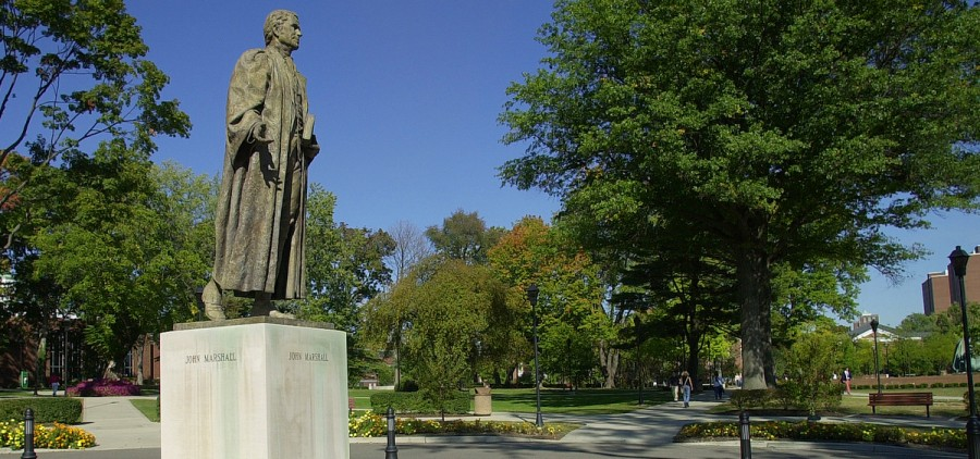 A statue of John Marshall on the campus of Marshall University