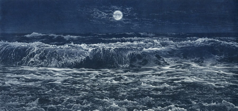 "Art Werger's mezzotint print, ""Rising Tide,"" completed in 2015; courtesy of the artist"
