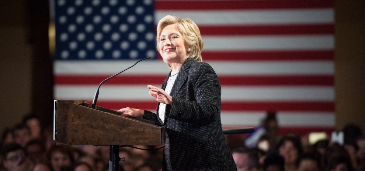 """Hillary Clinton speaks about her plan to fight for the interests of women and families at the """"Women for Hillary"""" grassroots organizing meeting at the Athenaeum in Columbus, Ohio, on Thursday, Sept. 10, 2015. Yi-Ke Peng/WOUB"""