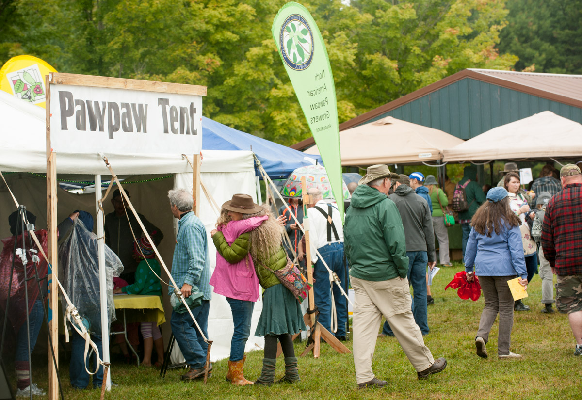 The Pawpaw Festival drew crowds on Saturday despite rainy weather and cool temperatures. (Yi-Ke Peng/WOUB).