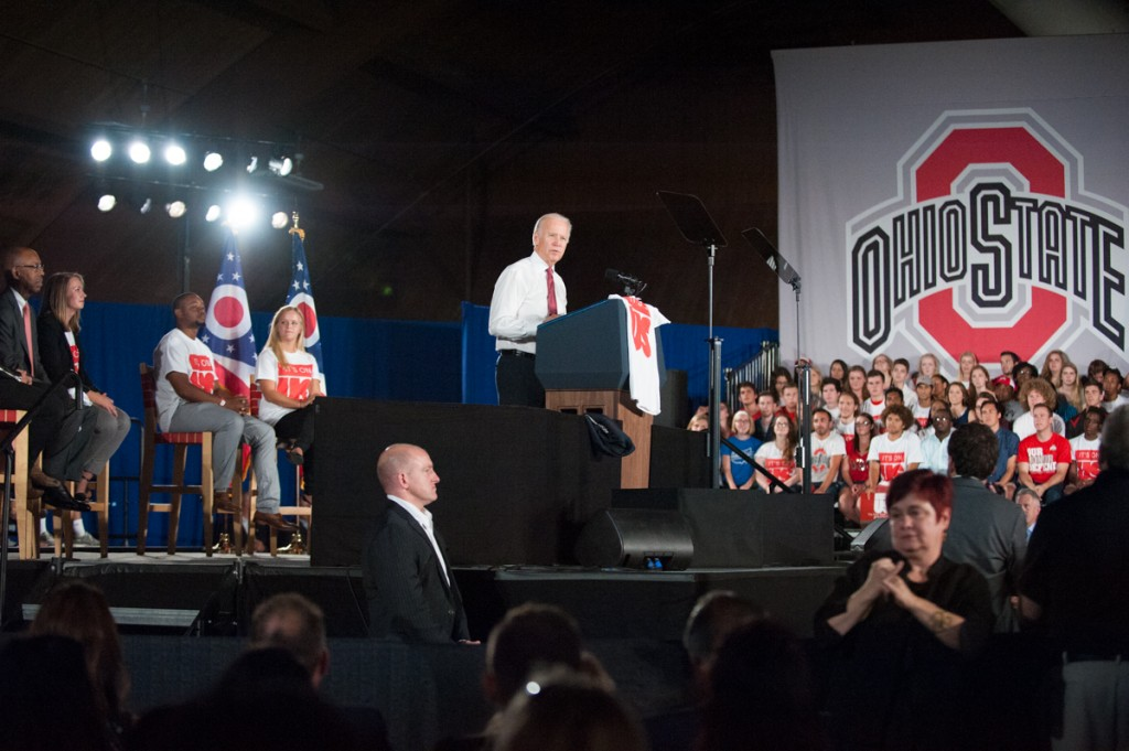 "Vice President Joe Biden speaks about sexual assault prevention at the Jesse Owens Recreation Center at The Ohio State University on Thursday, Sept. 17, 2015. The White House launched the ""It's On Us"" campaign last year to combat campus sexual assault. (Yi-Ke Peng/WOUB)"