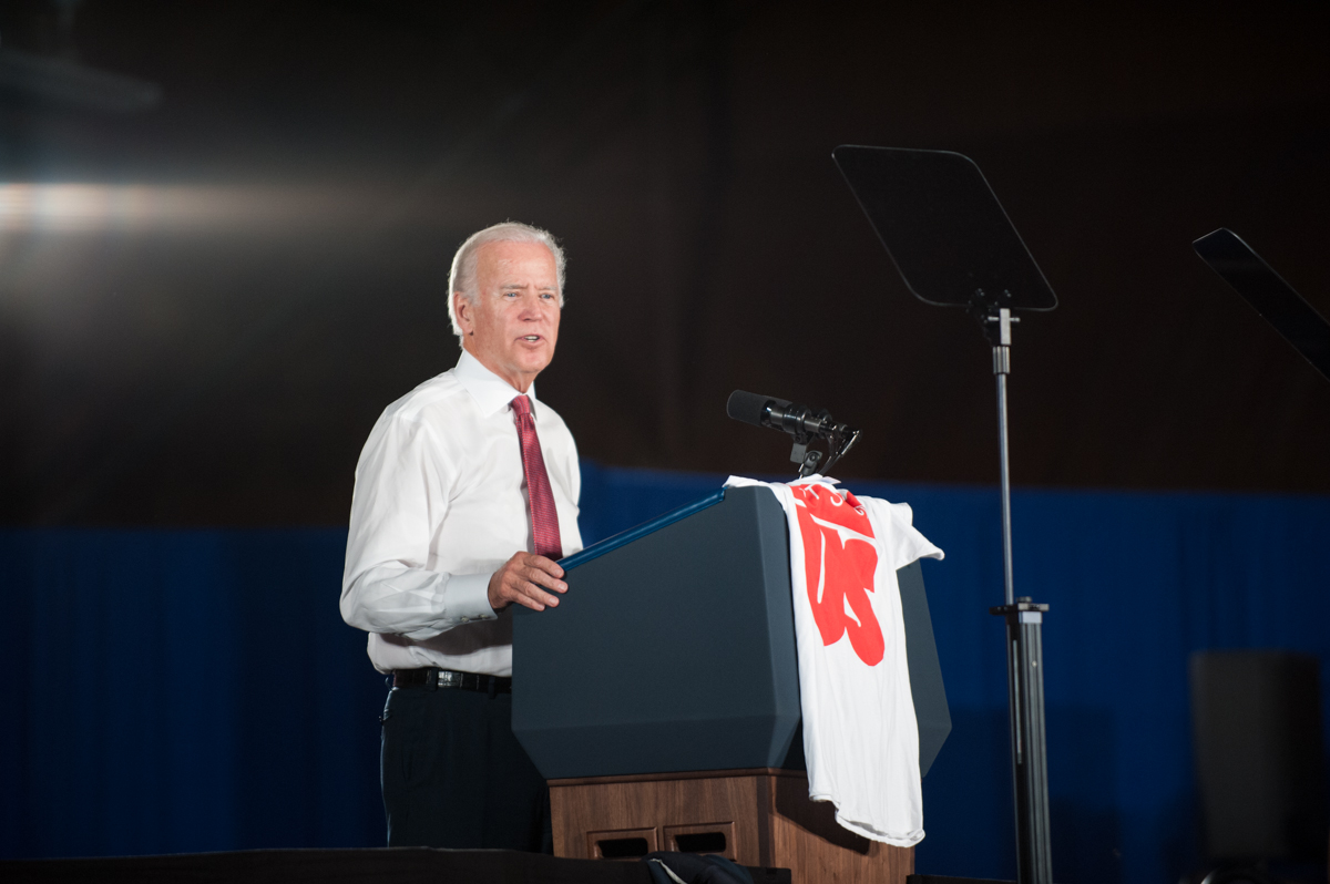"""Vice President Joe Biden speaks about sexual assault prevention at the Jesse Owens Recreation Center at The Ohio State University on Thursday, Sept. 17, 2015. The White House launched the """"It's On Us"""" campaign last year to combat campus sexual assault. (Yi-Ke Peng/WOUB)"""