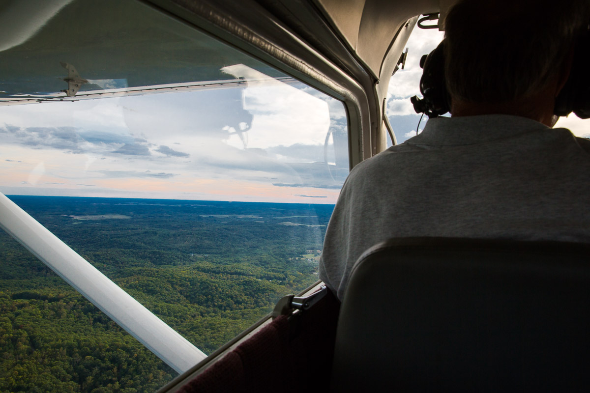 Harry Sowers, who runs Hocking Hills Scenic Air tours flies over Zaleski State Forest