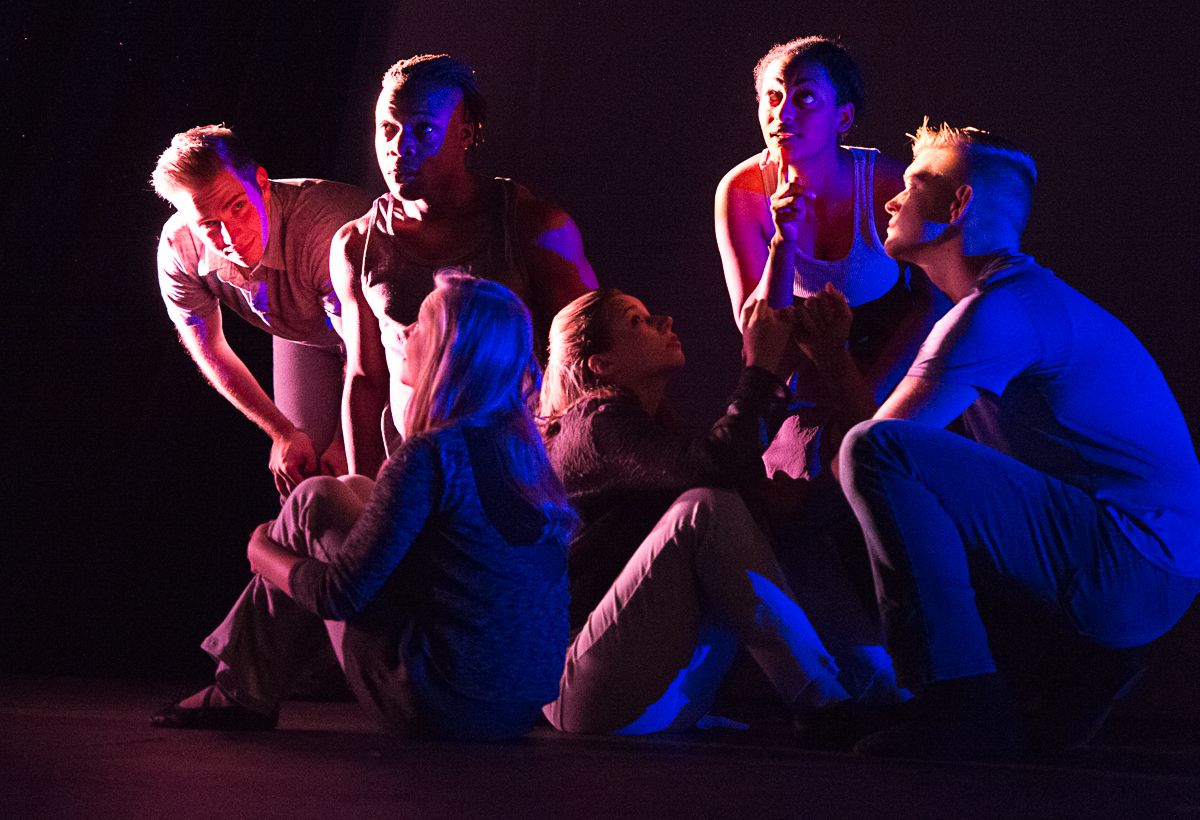 From left, Jarahme Pollock, Charles Wright, Claire Autran, Leah Kistler, Sana Selmon, and Colin Cardille perform in the physical theatre piece Elbow off the Table during media night on Monday, Sept. 1, 2015 in Kantner Hall (Daniel Rader/WOUB)