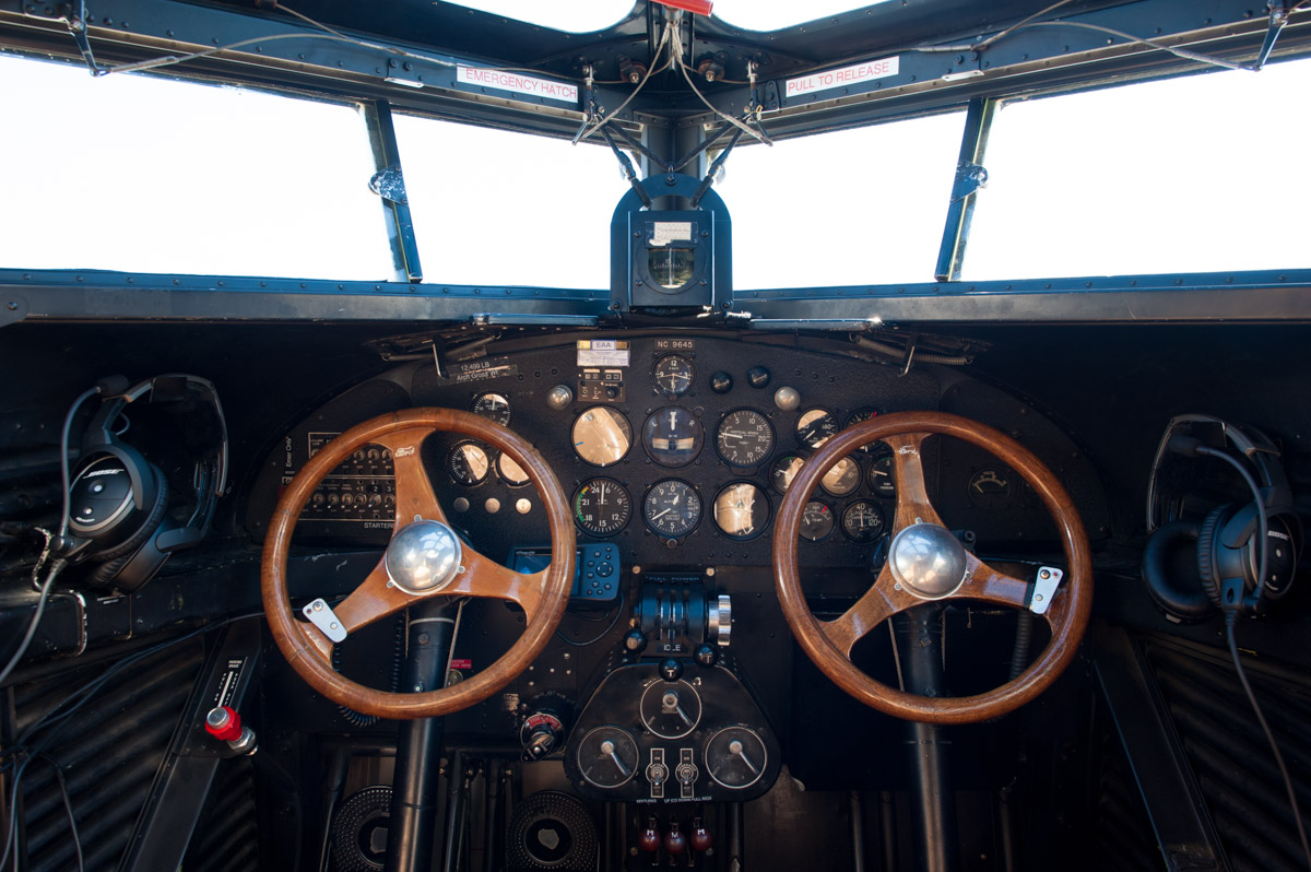 """Inside the cockpit of the """"Tin Goose."""" The aircraft offers passengers the opporutnity to travel back to the early days of commercial flight. (Yi-Ke Peng/WOUB)"""