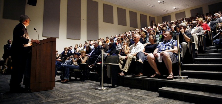 Tom Hodson, WOUB Director and General Manager, makes a statement before the producers and audience during Creative Abundance documentary screening