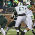 Ohio Bobcats linebacker Travis Daughertry (#50) rushes Marshall's quarterback, Michael Birdsong (#11), resulting in a fumble recovery by the Bobcats at Peden Stadium in Athens, Ohio on Saturday, September 12, 2015. The Bobcats defeated The Herd 21-10 in their first home game of the season.