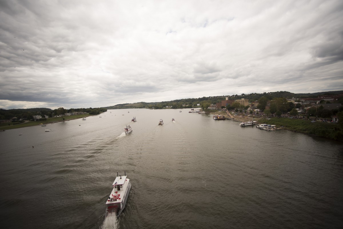 The first boat race represents the last day of the Sternwheel festival in Marietta, Ohio.