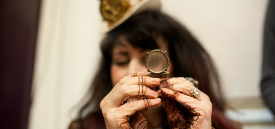 Penni AlZayer, founder of Whiplash Tribal Fusion Dancers, shows off some of her collection during the Steampunk Spectacle at ARTS/West. (Mark Clavin/WOUB)