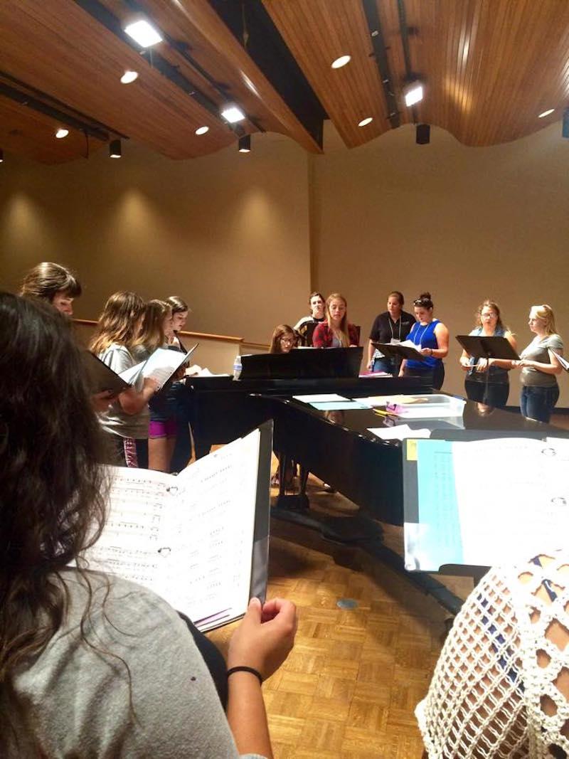 Members of the Ohio Women's Ensemble rehearse in the Glidden Recital Hall. (facebook.com/ohiowomensensemble)