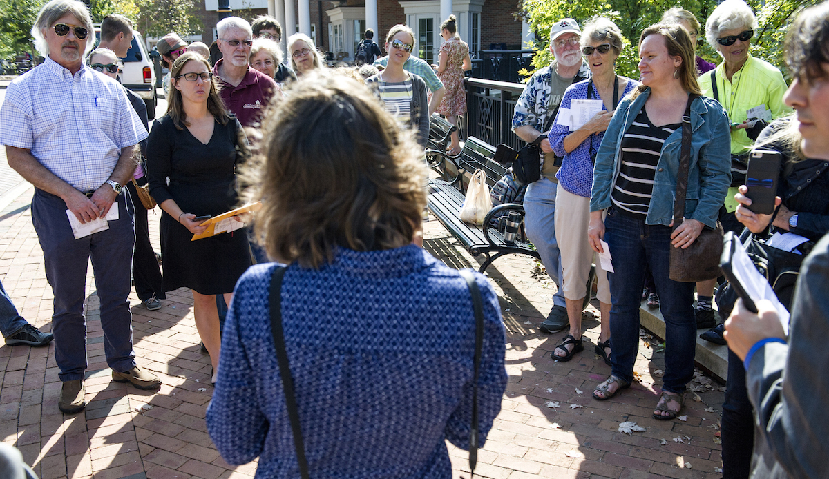 "Molly Schoenhoff talks to the public about the ""On the Bus"" program outside OU's Baker Center on Thursday, Oct. 08, 2015. (Daniel Rader/WOUB)"