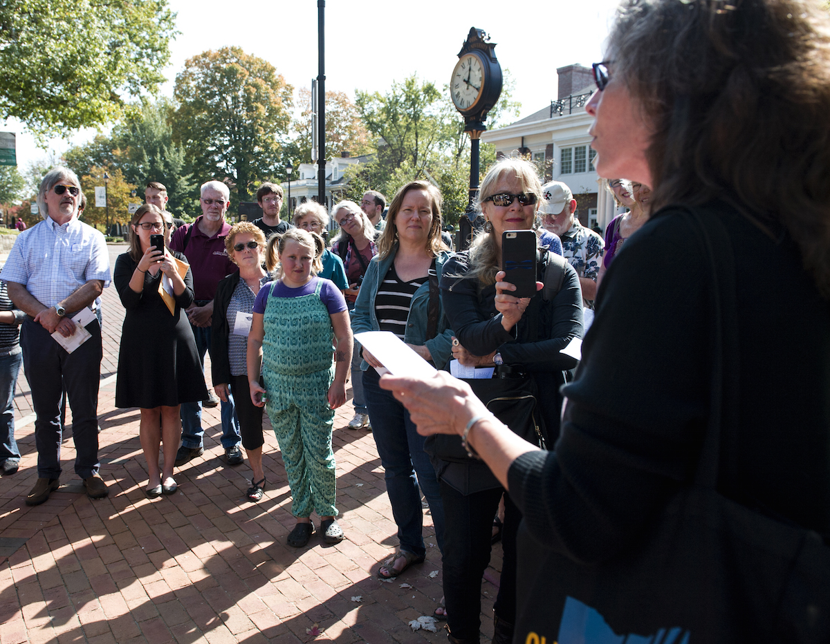 "Wendy McVicker reads her poem ""In Summer"" outside OU's Baker Center on Thursday, Oct. 08, 2015. (Daniel Rader/WOUB)"