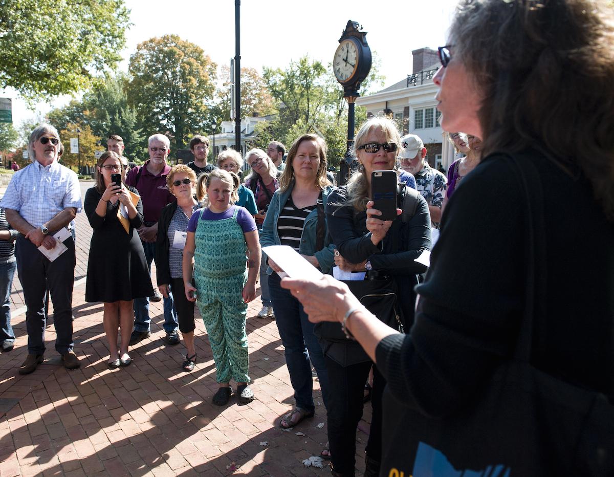 "Wendy McVicker reads her poem ""In Summer"" outside OU's Baker Center on Thursday, Oct. 08, 2015. (Daniel Rader/WOUB)"