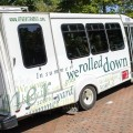 """Athens Public Transit's new """" On the Bus"""" features a typographic interpretation of poet Wendy McVicker's poem """"In Summer."""" (Daniel Rader/WOUB)"""