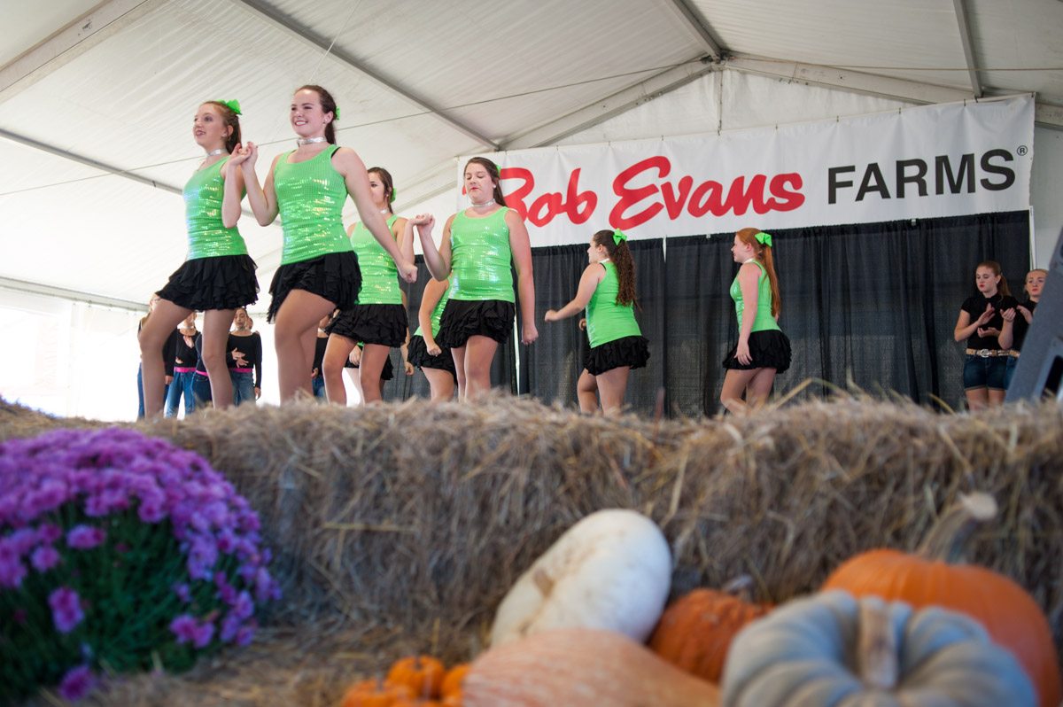 Students from Jamie's Dance Studio in Owingsville, Ky., perform at the 45th annual Bob Evans Farm Festival at the Bob Evans Farm in Rio Grande, Ohio, on Sunday, Oct. 11, 2015. (Yi-Ke Peng/WOUB)