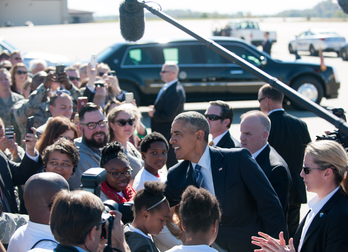 President Barack Obama shakes hands with the crowd at McLaughlin Air National Guard Base in Charleston, W.Va on Wednesday, Oct. 21, 2015. (Yi-Ke Peng/WOUB)