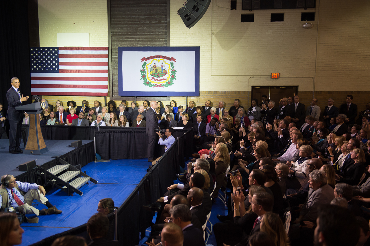President Obama addresses a packed auditorium at the East End Family Resource Center regarding the issue of drugs that have so negatively impacted the state of West Virginia.