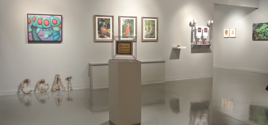 """John McVicker's painting, """"Five Bulbs,"""" (above, far left) was recently exhibited at Webster University's """"40@100"""" exhibit. (Jeff Hughes)"""