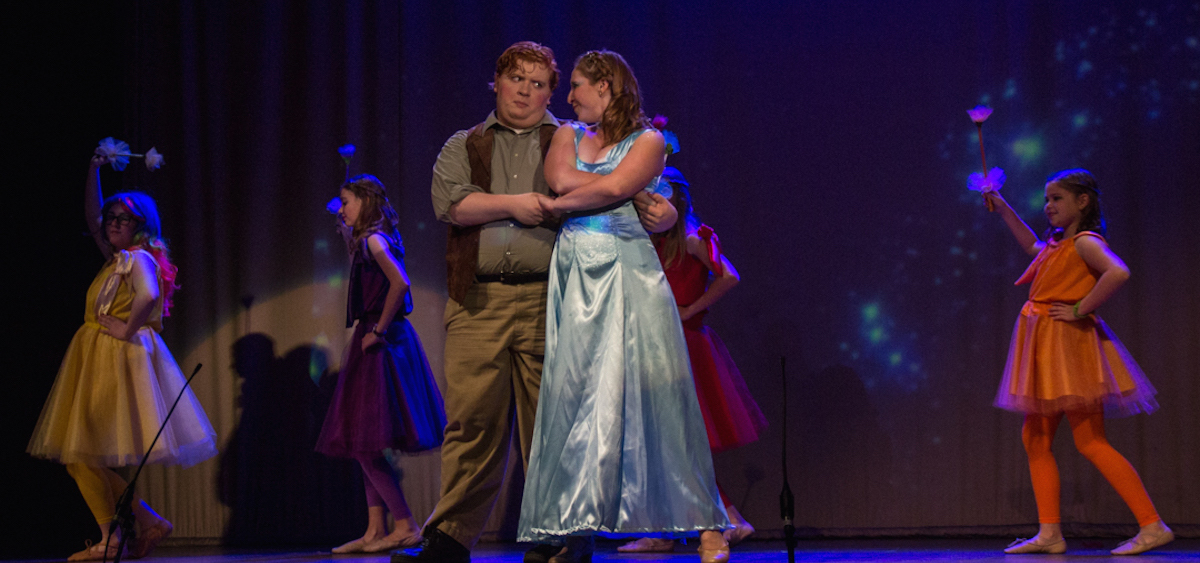 """The Blue Fairy (Marissa Dienstag) and Geppetto (Joe Assente) star in the ABC Players production of """"My Son, Pinocchio,"""" this weekend at Stuart's Opera House. (Hannah Schroeder/WOUB)"""