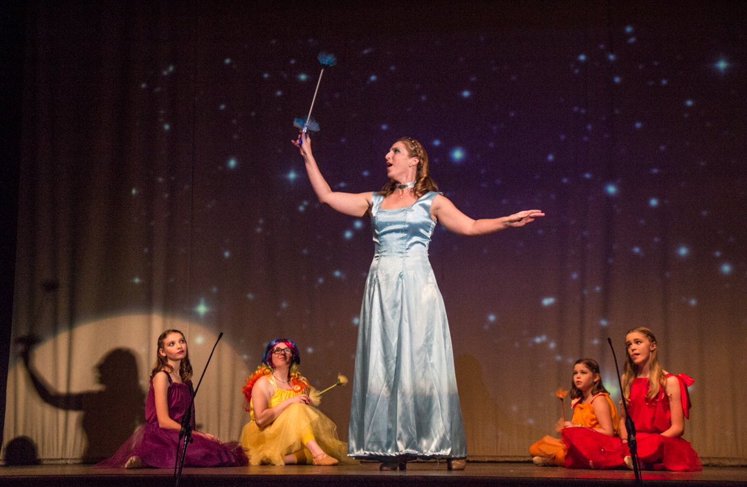 The Blue Fairy, played by Marissa Dienstag, teaches the younger fairies a lesson in the form of a song. (Hannah Schroeder/WOUB)