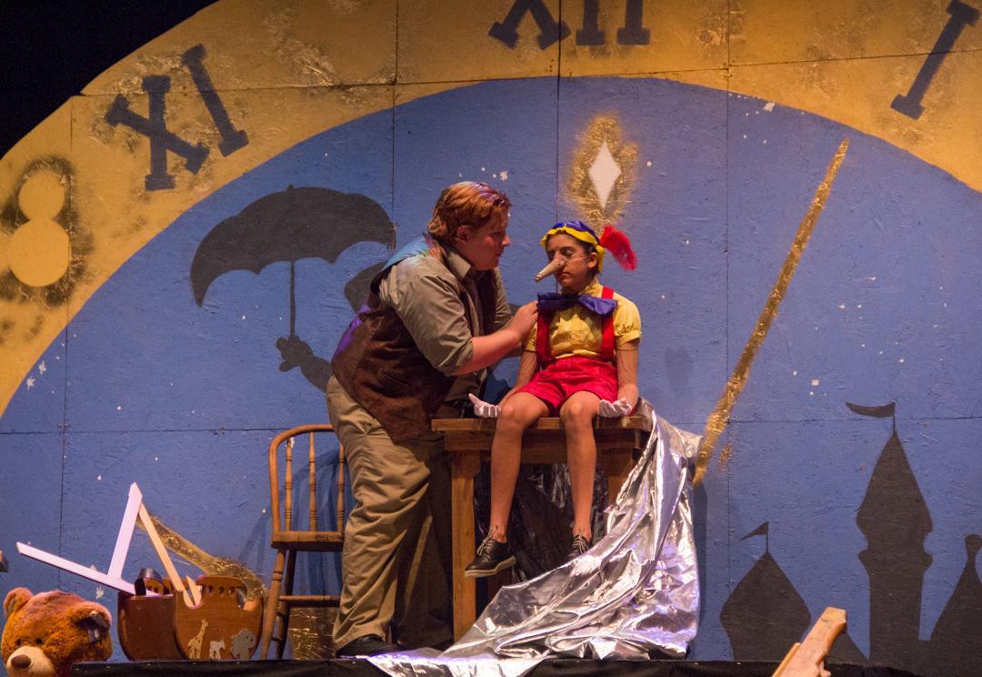 "Joe Asente (Geppetto) and Allyriane Huq (Pinocchio) in ""My Son, Pinocchio (Hannah Schroeder/WOUB)"