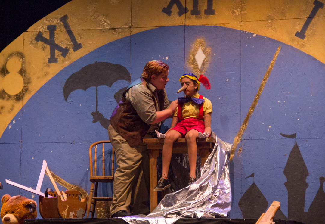 """Joe Asente stars as Geppetto alongside Allyraine Huq, as Pinocchio in """"Pinocchio, My Son."""" Pinocchio has just been turned into a real boy and Geppetto is realizing his joy. (Hannah Schroeder/WOUB)"""