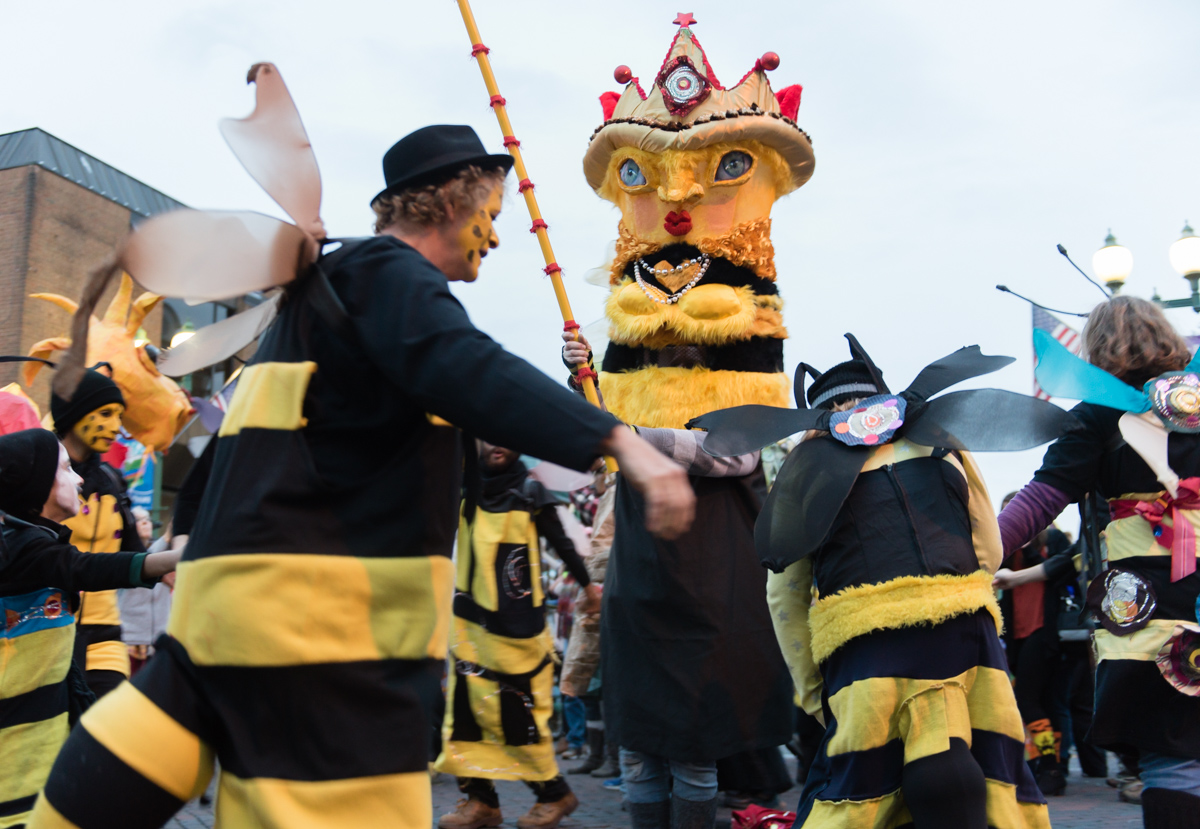 """People dressed up as bees circle around the""""Bee King"""" at the 2015 Honey for the Heart Parade on Halloween Night on Saturday, Oct. 31, 2015 in Athens, Ohio. (Jeffrey  Zide / WOUB)"""