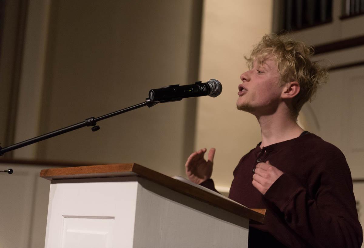 Jasper Wirtshafter speaks at the Transgender Day of Remembrance Vigil on Nov. 19, 2015.