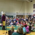 Author Jan Brett talks about her newest children's book, The Turnip, to a large crowd at The Plains Elementary on Wednesday.