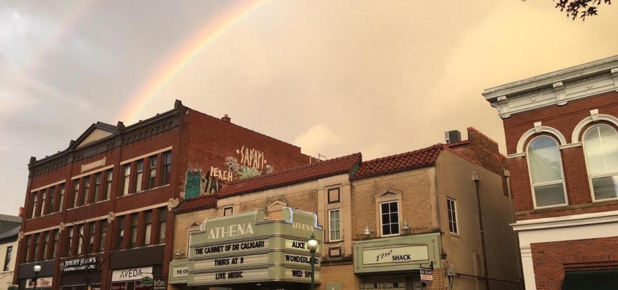 """Rainbow over the Athena Cinema,"" Emily Beveridge"
