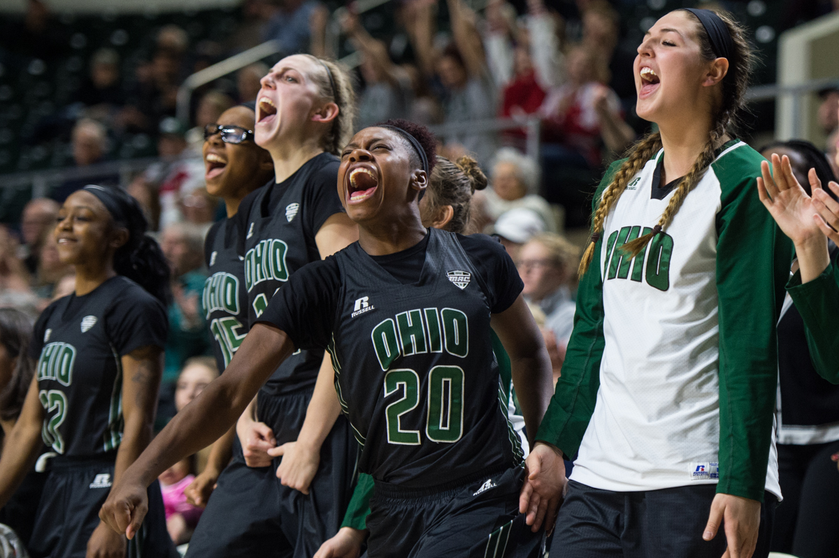 OU forward Tmisht Stinson (#20) yells in celebration with her teammates as the Bobcats come-back in an 86-84 overtime victory against the Central Michigan Chippewas at the Convocation Center in Athens, Ohio on Saturday, Jan. 16, 2016.