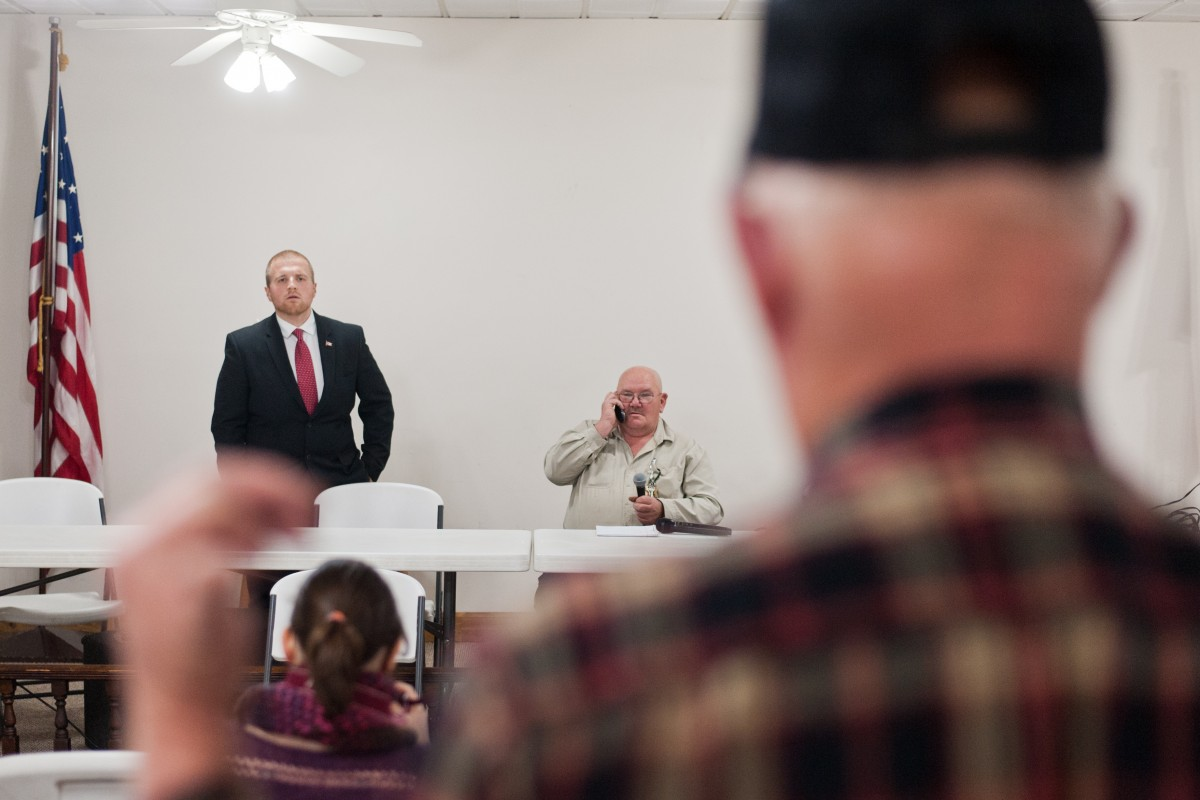 Eddie Smith, a democratic candidate for the 94th District of the Ohio House of Representatives, answers questions during the Lottridge Candidate's Forum at the community center in Lottridge, Ohio on Thursday, Feb. 4. (Mark Clavin/WOUB)
